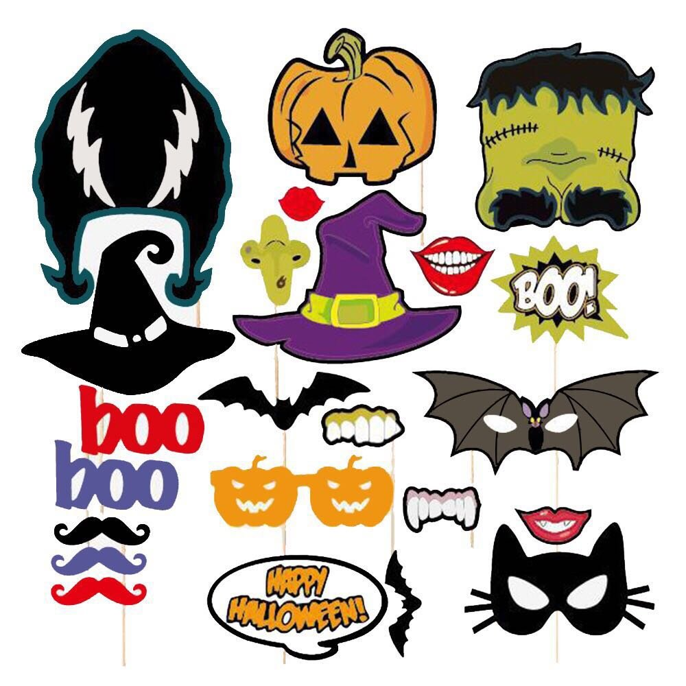 Halloween Photo Props(24 Pcs),Creative Photo Booth Props with BOO Pumpkin Essence, Batman, Horror Skull for Halloween Party