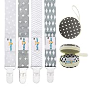 Babygoal Baby Plastic Pacifier Clips for Boys, 4 Pack with Pacifier Case for Teething Toy & Baby Shower Gift Fits All Pacifier Styles for Girls and Boys
