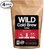 Cold Brew Coffee Kit, Brew-At-Home Wild Coffee Pouch made with Ground Organic Wild Coffee, Fair trade, Single-origin, Fresh roasted High-performance Coffee (Lumberjack Blend, 4 Pouch)
