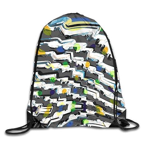 da0ca8ed069 Amazon.com   Geometry Puzzle Stripes 2 Drawstring Backpack Gym Bag Travel  Backpack Purple Lotus Mandala Small Drawstring Backpacks Women Men Adults  ...