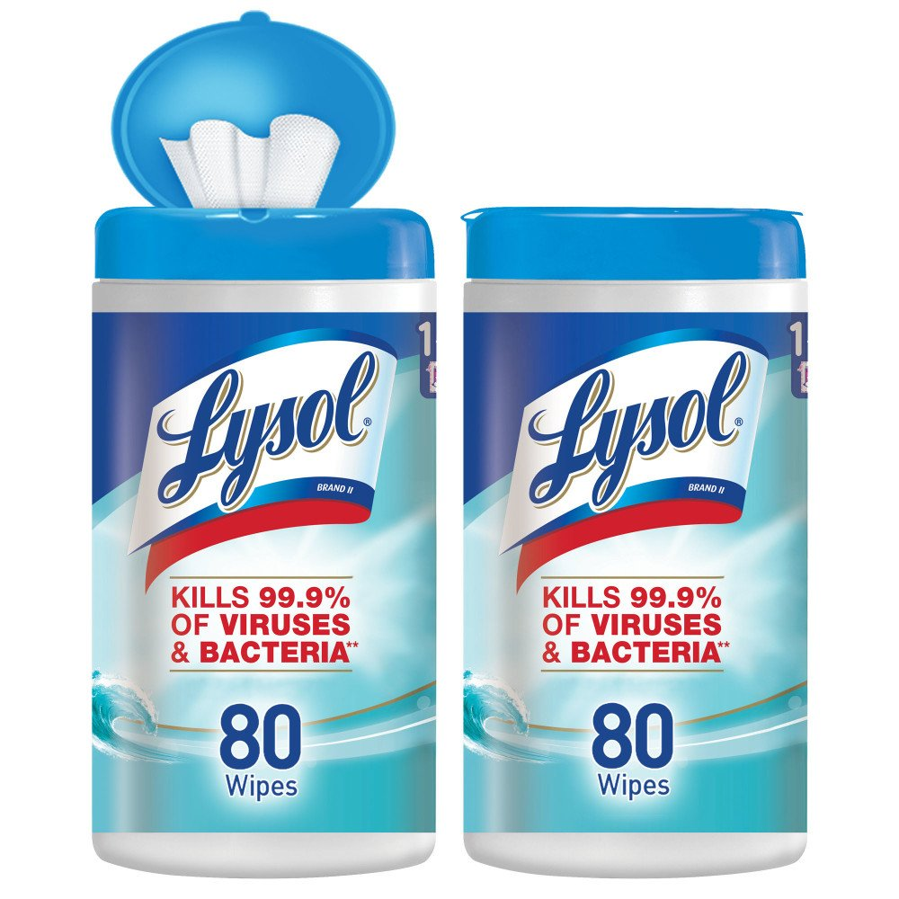 Lysol - Disinfecting Wipes - 80ct - Ocean Fresh - Disinfectant - Cleaning - Sanitizing (Pack 2)