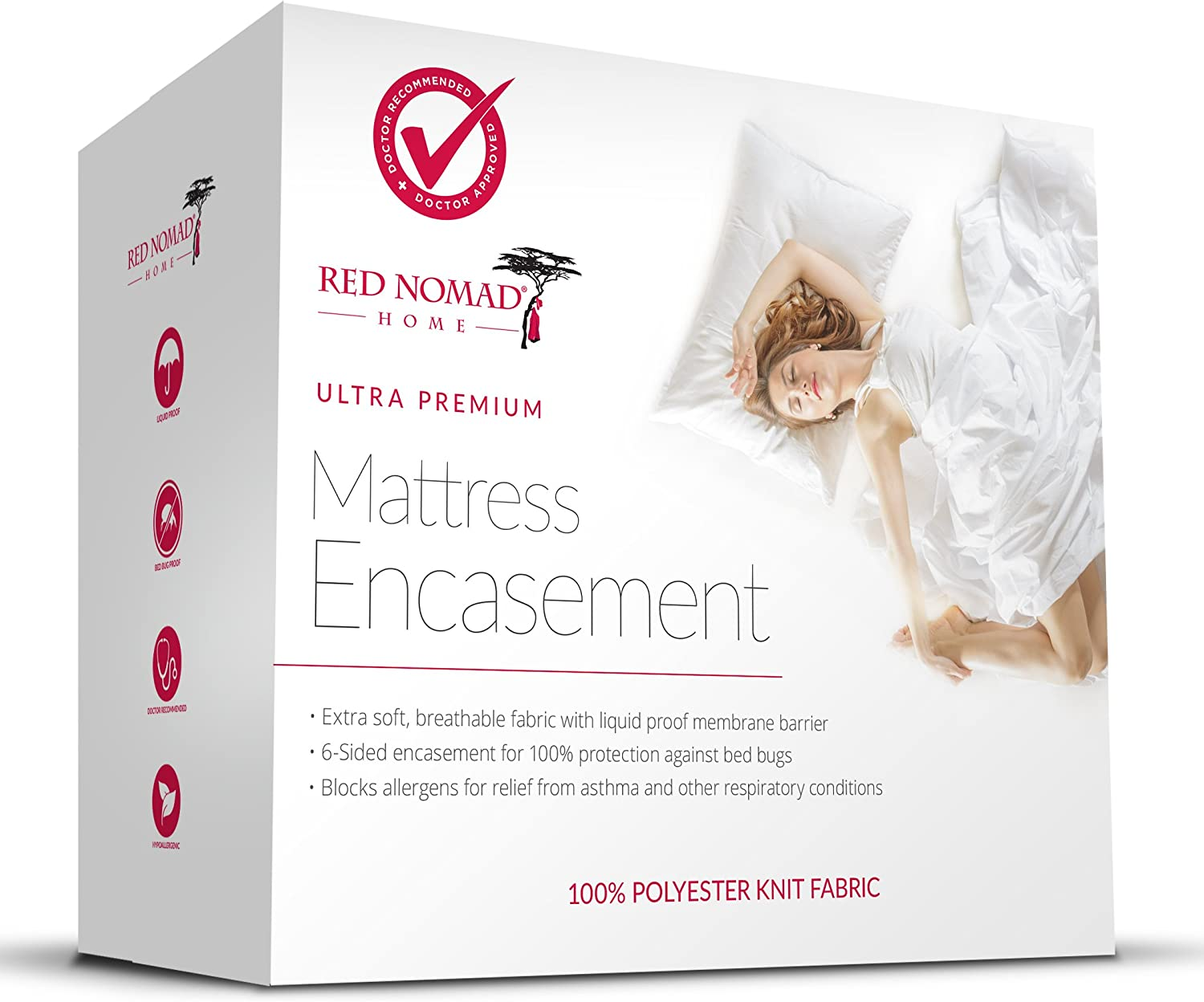 Red Nomad Waterproof Zippered Encasement Medical Grade Bed Bug Proof & Allergy Reduction Mattress Protector – Queen Size: Home & Kitchen