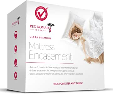 Red Nomad Waterproof Zippered Encasement – Medical Grade Bed Bug Proof & Allergy Reduction Mattress Protector – Twin XL Size
