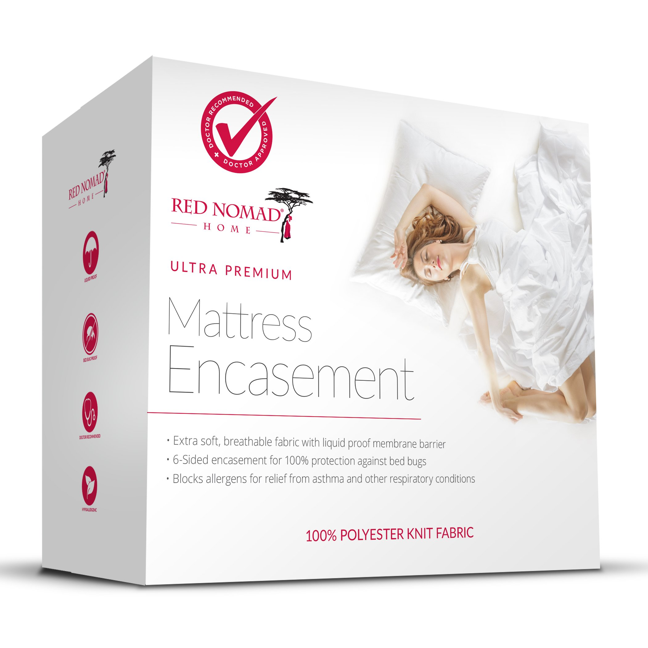 Red Nomad Waterproof Zippered Encasement Medical Grade Bed Bug Proof & Allergy Reduction Mattress Protector - King Size