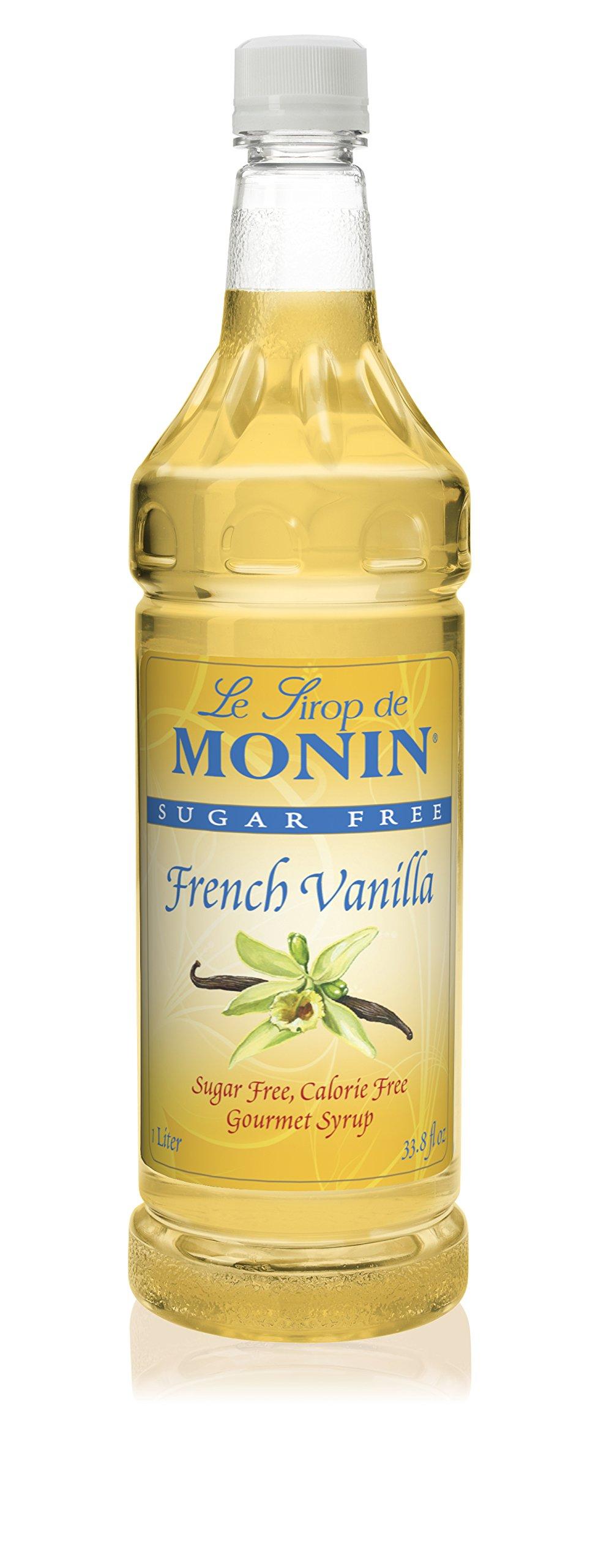 Monin - Sugar Free French Vanilla Syrup, Bold Vanilla Bean Flavor, Great for Coffee, Cocktails, & Lattes, Gluten-Free, Vegan, Non-GMO (1 Liter)