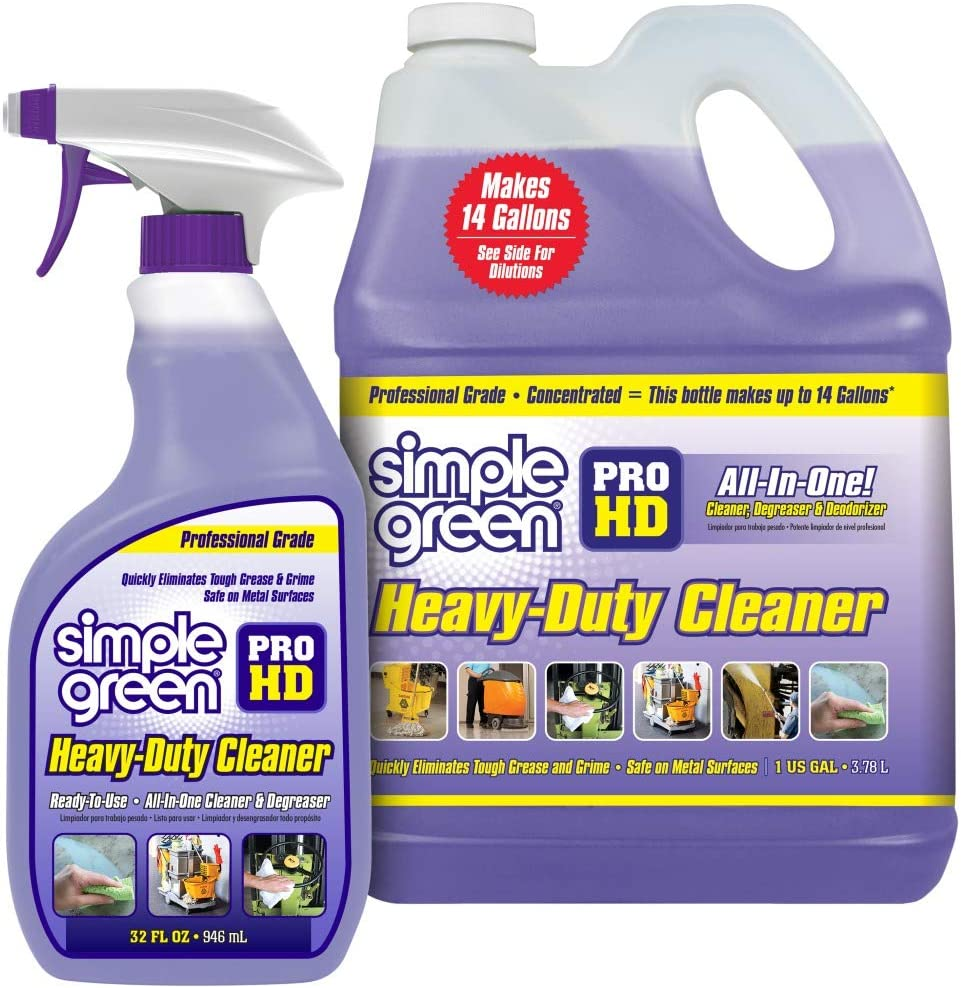 """SIMPLE GREEN Pro HD """"Purple"""" Concentrated Cleaner & Degreaser - Heavy Duty, Professional, Automotive, Restaurant, Kitchens, Grills, Ovens - 32 oz Spray and 1 gal Refill (Pack of 2)"""