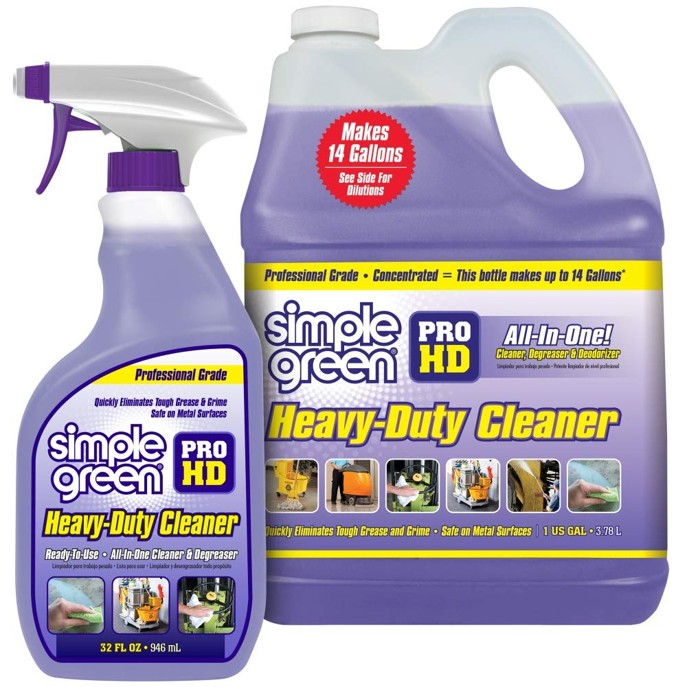 SIMPLE GREEN Pro HD ''Purple'' Concentrated Cleaner & Degreaser - Heavy Duty, Professional, Automotive, Restaurant, Kitchens, Grills, Ovens - 32 oz Spray and 1 gal Refill (Pack of 2) by SIMPLE GREEN
