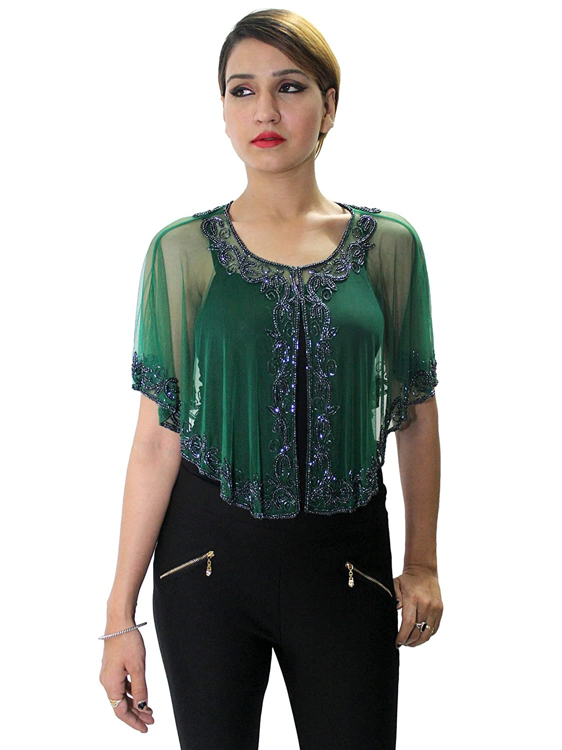 Matelco Green Cape Poncho with Heavy Beads Embroidery- Free Size