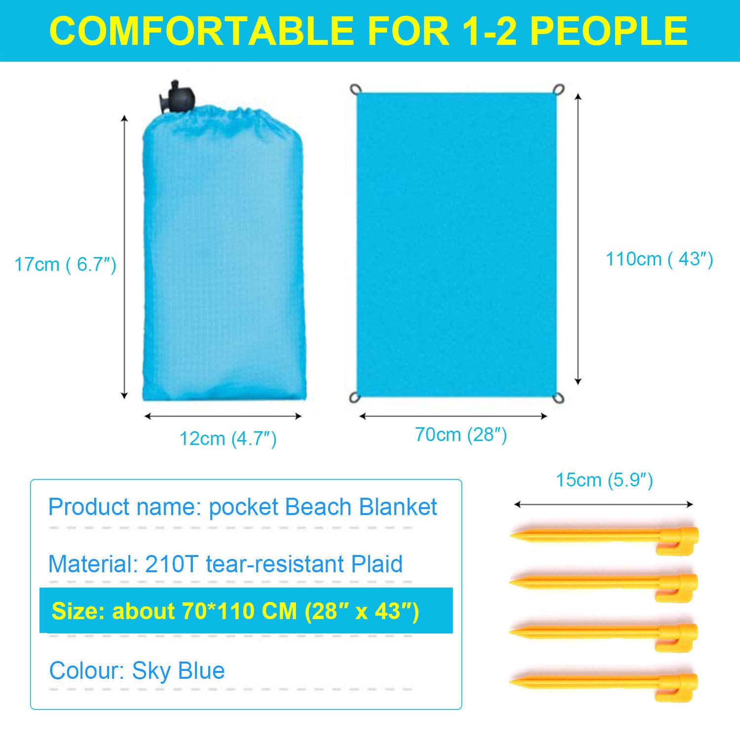 ZCINT Packable Pocket Blanket Beach Small 28 x 43 Inch with 4 Stakes, Waterproof Outdoor Hiking Tarp Cover, Ripstop Nylon Compact Ground Mat for Camping, Travel, Picnic