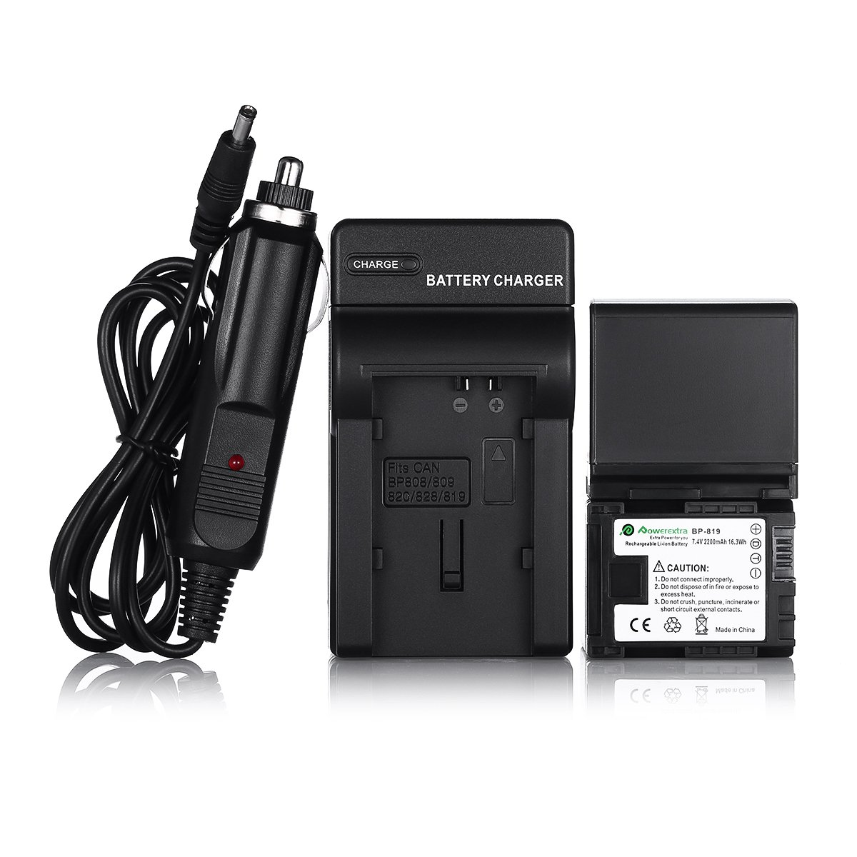 Powerextra 2 Pack Replacemet Canon BP-819 Battery and Charger for Canon VIXIA HF10, HF11, HF20, HF21, HF100, HF200, HF G10, HF M30, HF M31, HF M32, HF M40, HF M41, HF M300, HF M400