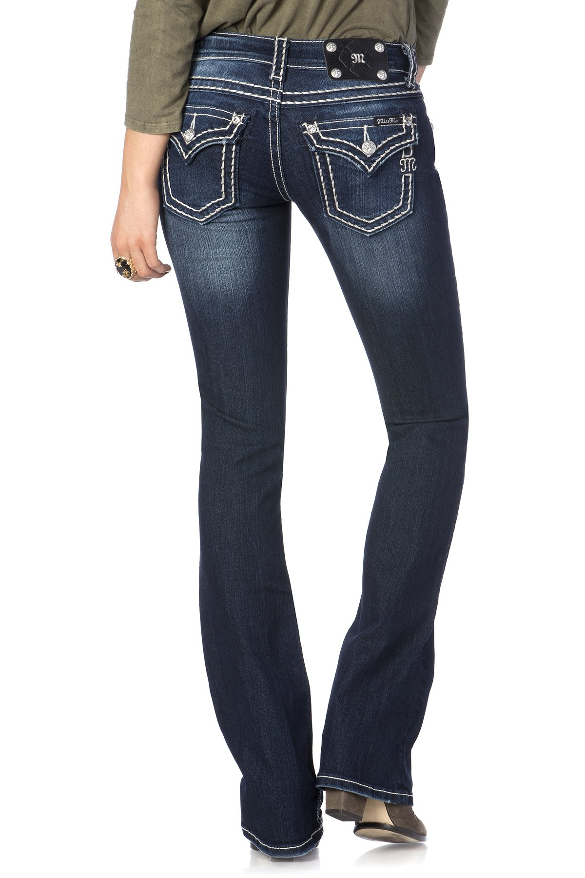 Miss Me Loose Saddle Stitch Border Boot Cut Jean 29