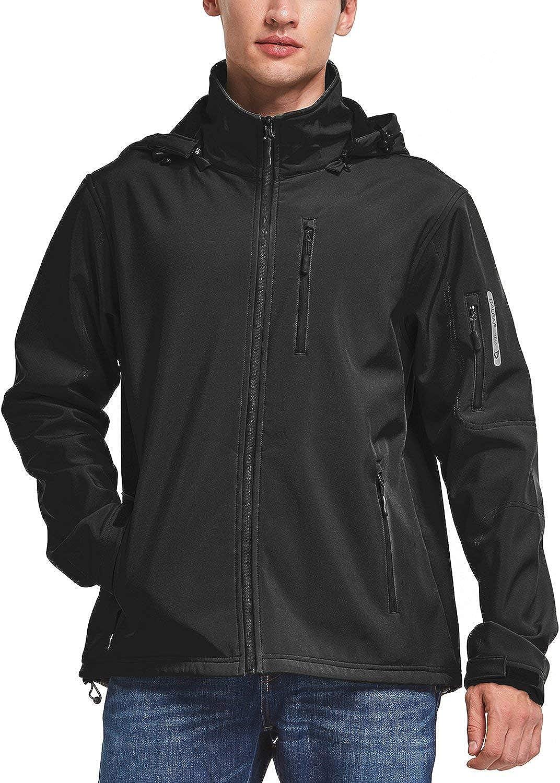 BALEAF Mens Waterproof Windproof Outdoor Softshell Jacket Microfleece Lined