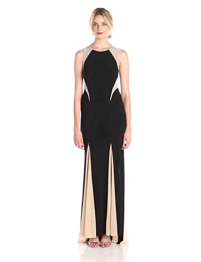 Amazon.com: Xscape Women\'s Sleeveless Gown with Illusion Insets ...