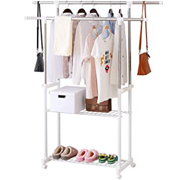 Amazoncom Alpha Home Clothes Drying Rack Adjustable Rolling