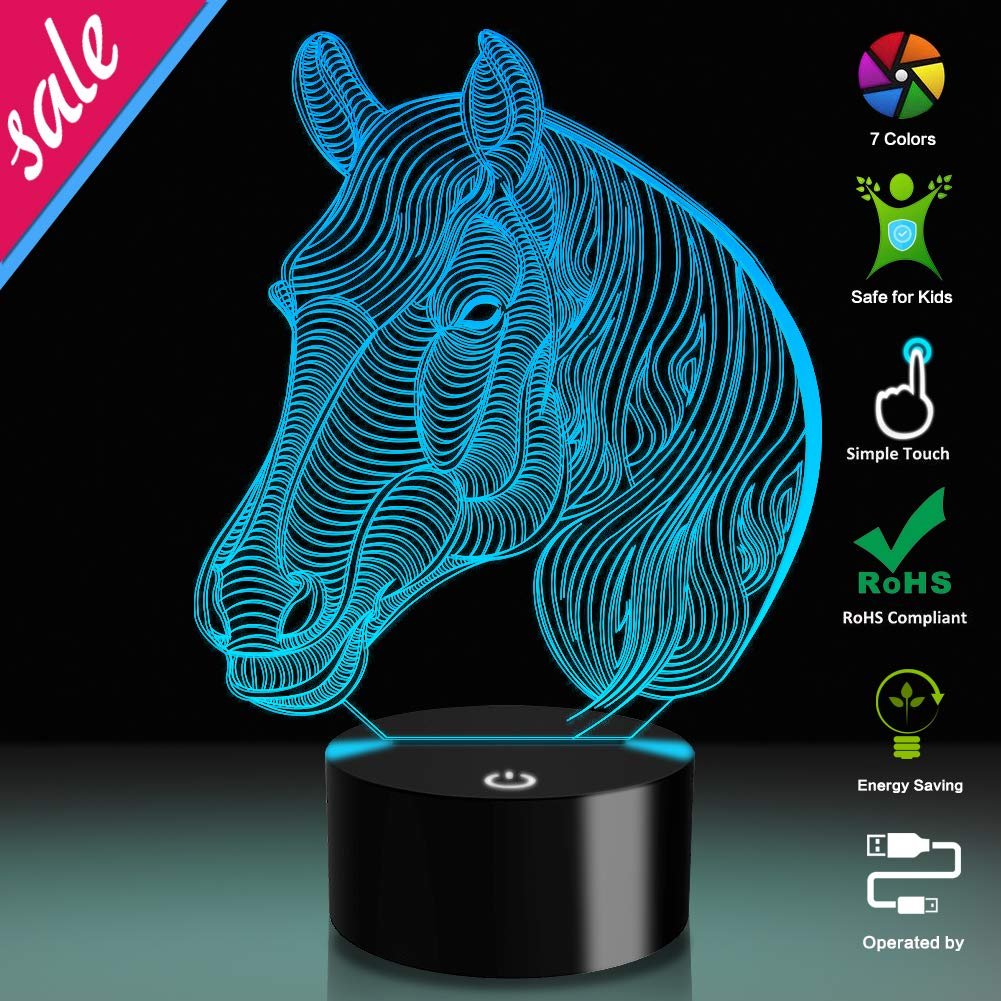 3D Illusion Lamp Horse Led Night Light, 7 Colours Flashing Touch Switch Bedroom Decoration Lighting for Kids Christmas Gift 1