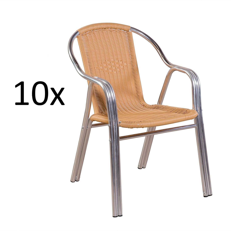 10er Set Aluminium Stapelstuhl Poly-Rattanbespannung Gartenmöbel Silber / Beige