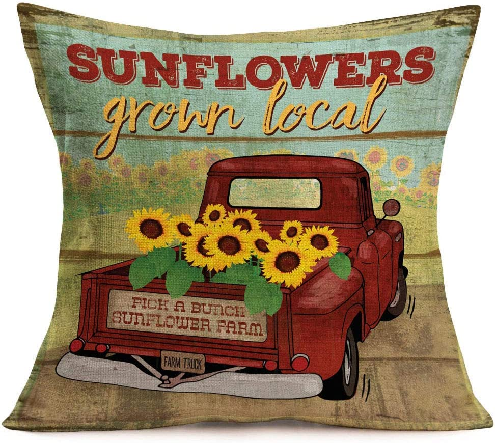 ShareJ Retro Red Truck with Sunflowers Pillow Covers Cotton Linen Wood Background Decorative Throw Pillow Covers Square 18x18 Inch Cushion Cover Decor for Home Sofa