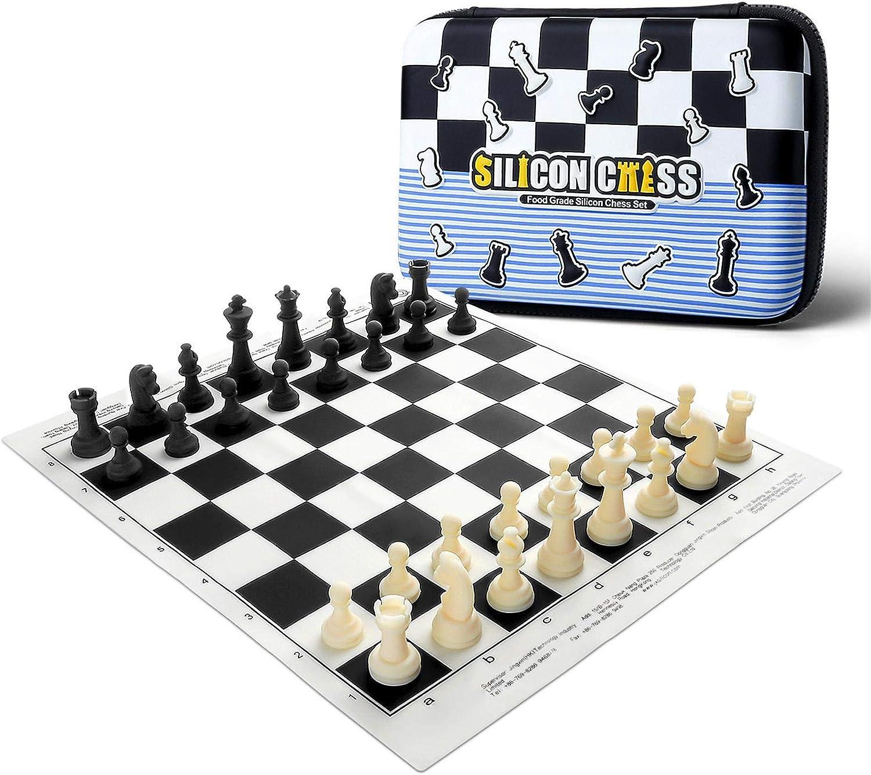 Juego de ajedrez para niños, juego de ajedrez portátil de silicona, con bolsa de transporte, para principiantes, figuras de ajedrez Staunton y tablero de ajedrez de silicona enrollable.