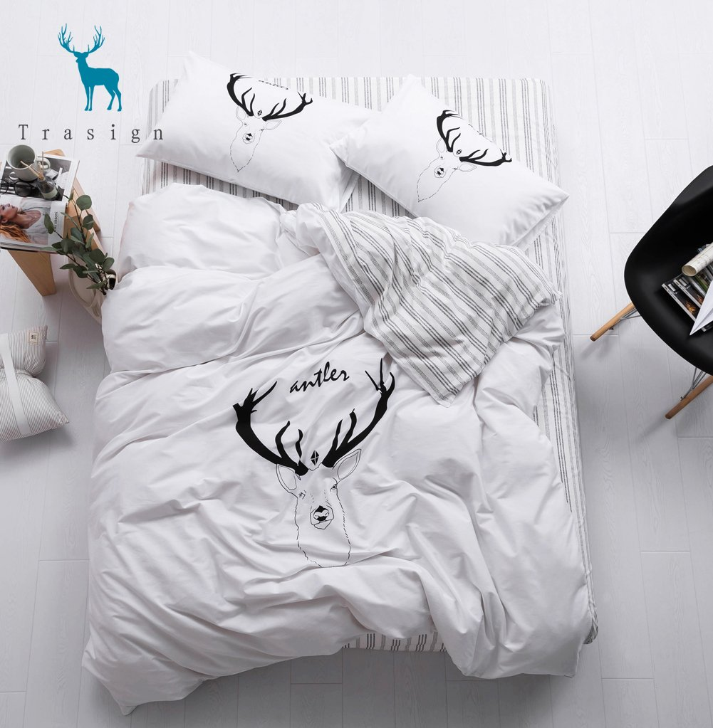 Trasign Soft Cotton Kids Duvet Cover Twin with Deer Printed Pillowcases Stripe Reversible Kids Duvet Comforter Cover Modern Kids 3 PC Bedding Set, Twin TR042401T1
