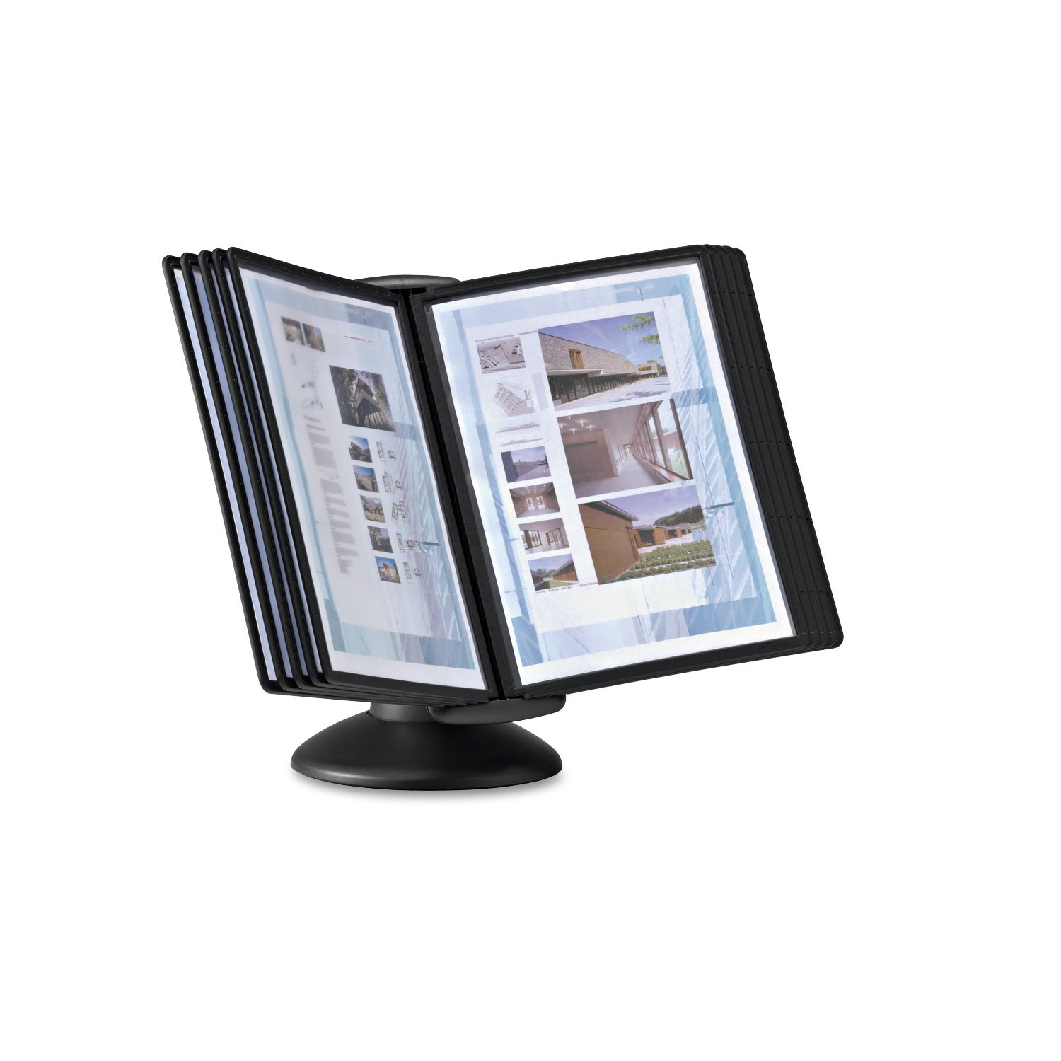 Durable 553901 Sherpa Motion Desk Reference System, 10 Panels, Black by Durable