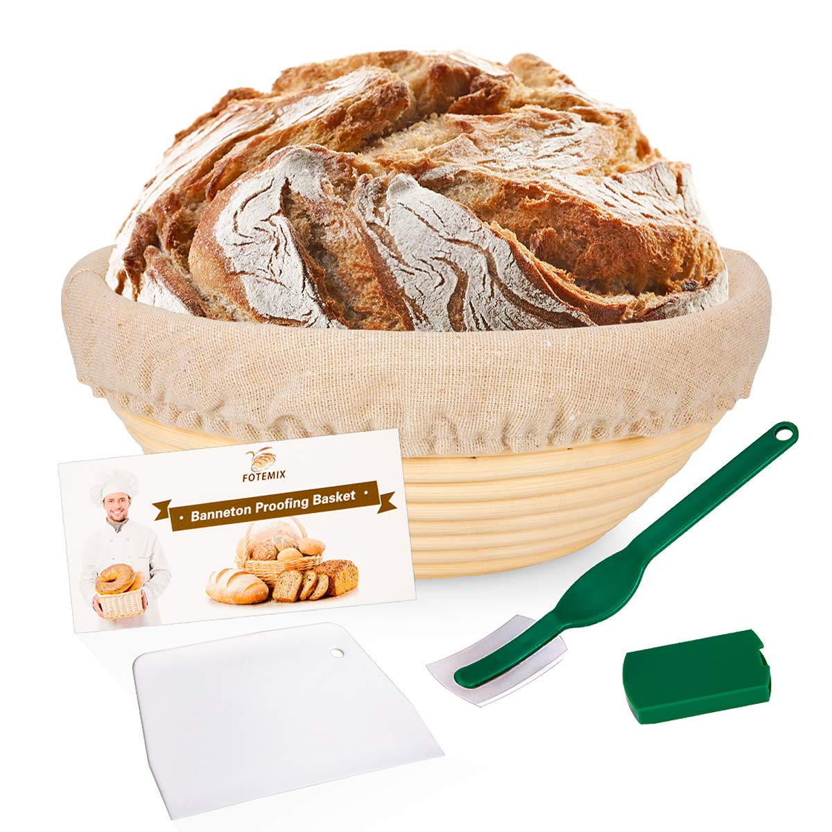 Round Bread Proofing Basket 8.5inch Banneton Proving Basket Natural Rattan Sourdough Proving Basket for Professional Home Bakers (with Cloth Liner, Dough Scraper, Bread Lame, Starter Recipe Set)