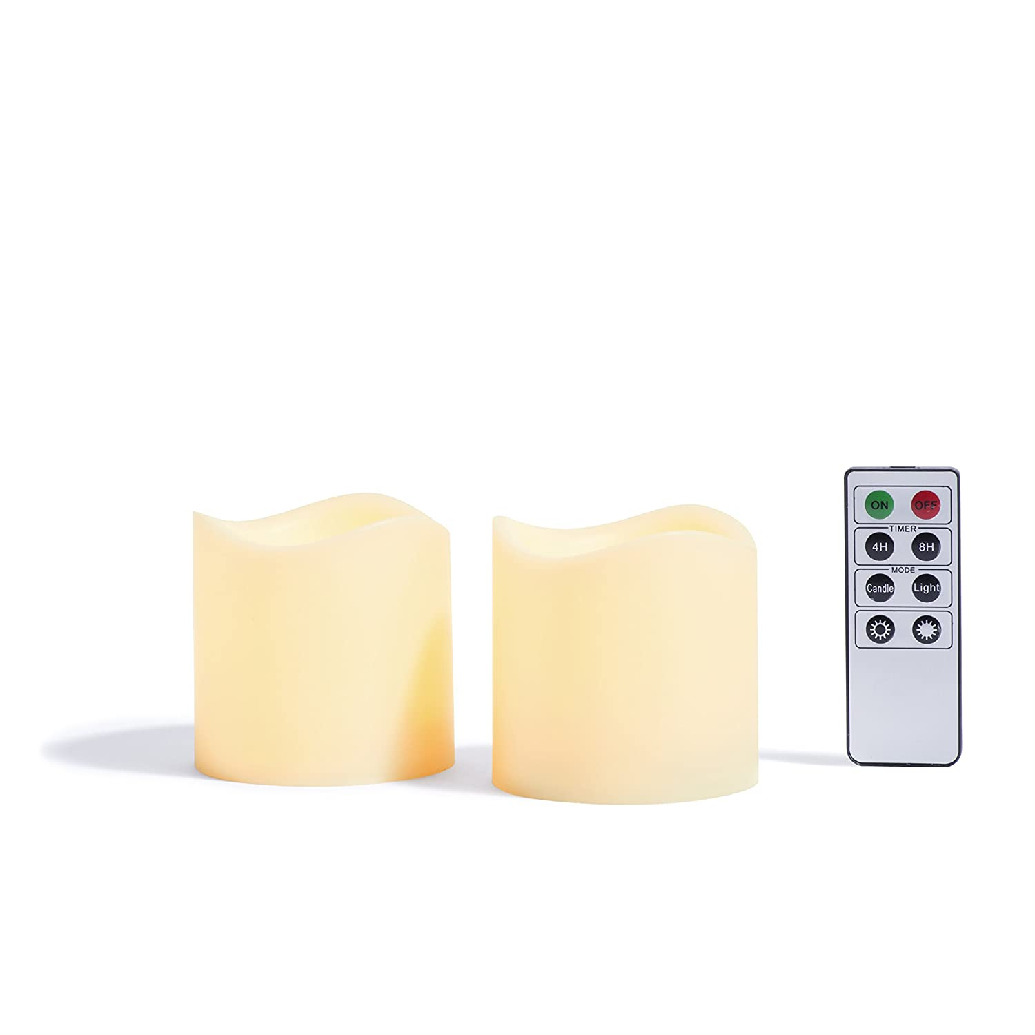LampLust Indoor Outdoor Flameless Candles Set of 2 Warm White LED Glow Water Resistant Batteries Included 3 x 3 Decorative Candle Set