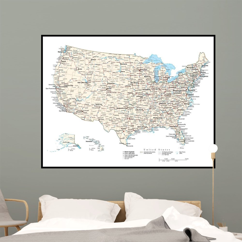 Wallmonkeys United States America Map Wall Mural Peel and Stick Graphic (60 in W x 46 in H) WM4235