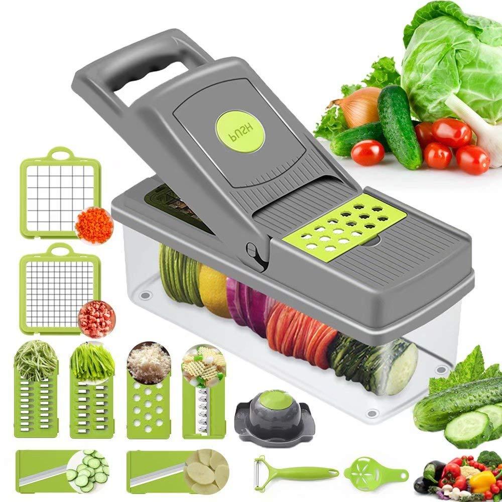 Preciser Vegetable Slicer Food Choppers and Dicers 12-In-1 Mandoline Slicer Cutter Chopper