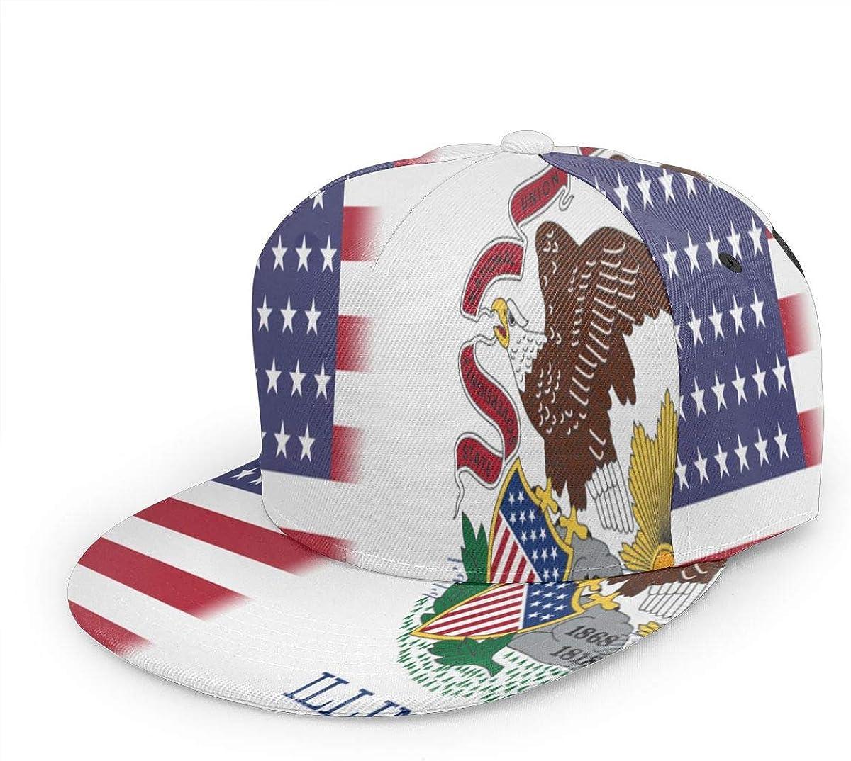 Illinois America Flag Unisex 3D Printing Bill Hats Black other1 Flat Rim Baseball Cap