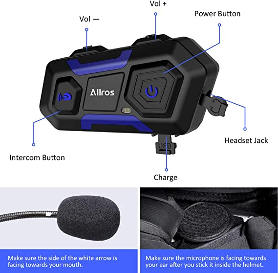 Motorcycle Interphone Talkie Walkie Communication Intercom Headphone GW Helmet