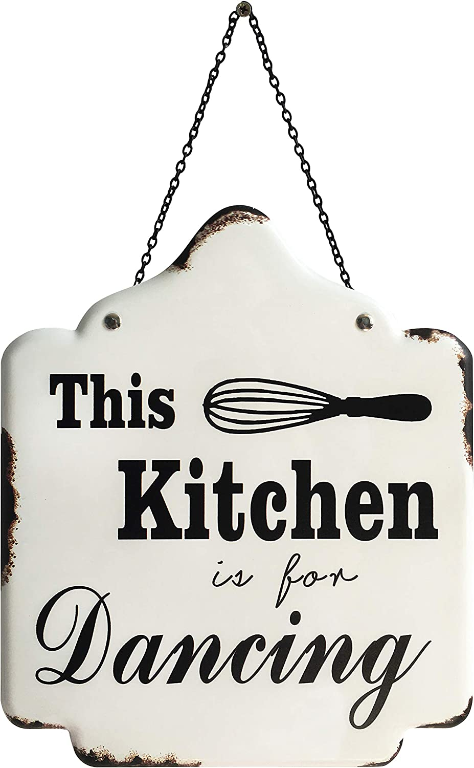 Pridecreation Kitchen Signs, 10x12 inch Rustic Farmhouse Enamel Metal Wall Hanging Art Decor Prints - The Kitchen is for Dancing (White)