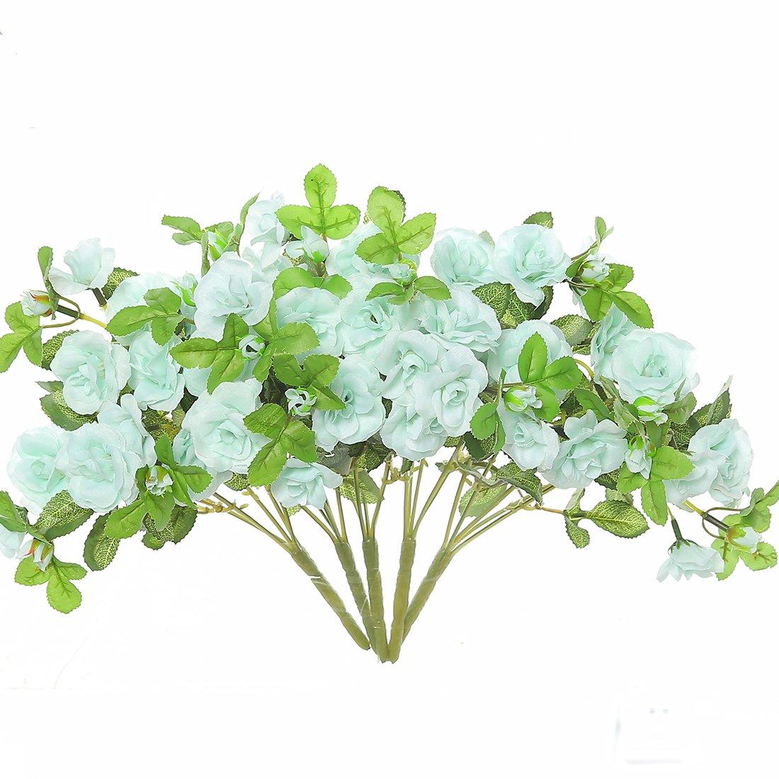 JUSTOYOU Artificial Silk Mini Roses Flowers Bouquet for Homes Table Wedding Arrangement (5, Light Blue)