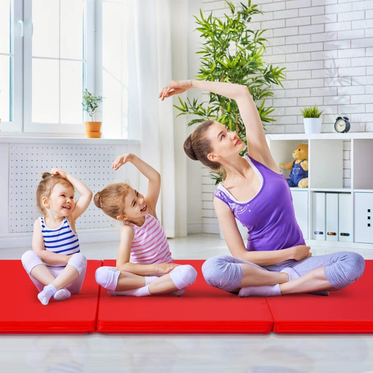 GOPLUS Weichbodenmatte Turnmatte Yogamatte Gymnastikmatte Sportmatte Fitnessmatte klappbar PU Farbwahl 180x60x5 cm