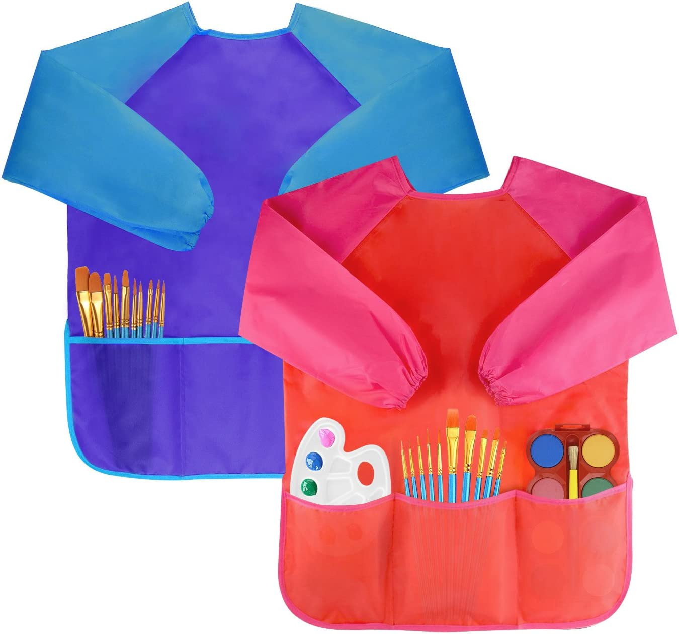 Waterproof Artists Painting Aprons Long Sleeve with 3 Pockets for Age 2-6 Years 2 Pack Bassion Pack of 2 Childrens Art Smocks 7 Brushes