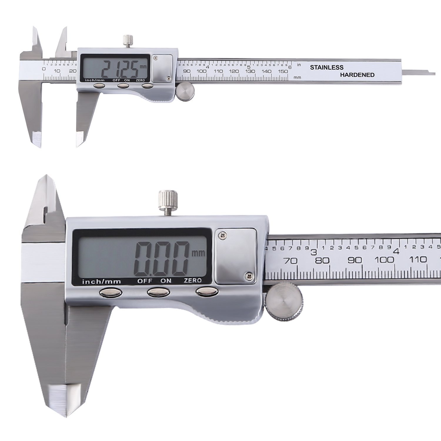 OCGIG Digital Caliper Measuring Tool Stainless Steel Vernier Caliper 0 - 6 Inches 150mm with Large Clear LCD Screen Inch/Millimeter Conversion