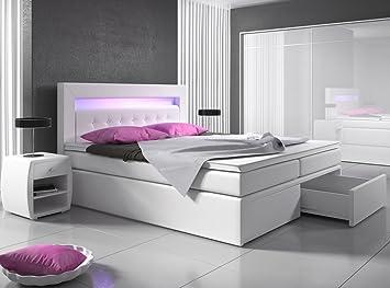 Boxspringbett 140x200 Weiß Mit Bettkasten Led Kopflicht Hotelbett