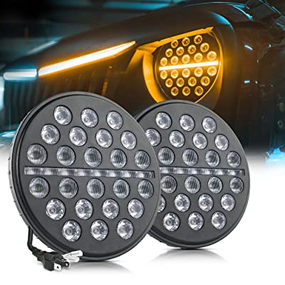 MICTUNING 7 Inch Round 80w LED Headlights with High Low Beam, DRL, Dynamic Amber Turn Signal for Jeep Wrangler JK LJ TJ Black (2 Pack): Automotive [5Bkhe0810398]