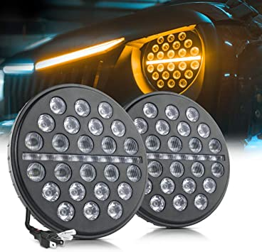 Dynamic Amber Turn Signal for Jeep Wrangler JK LJ TJ Black 2 Pack DRL MICTUNING 7 Inch Round 80w LED Headlights with High Low Beam