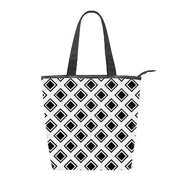 4c50410829e1 Amazon.com : Women's Canvas Tote Black And White Rhombus Shoulder ...