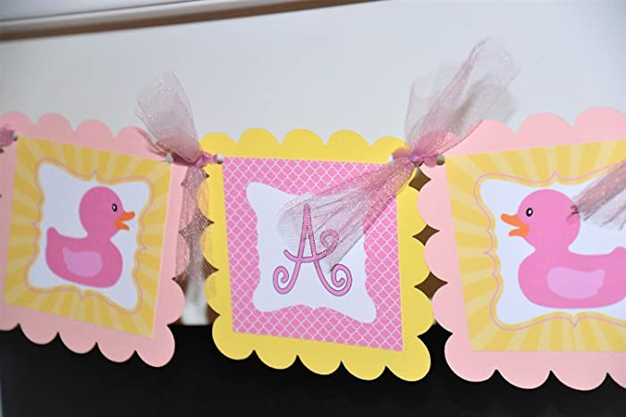 Pink And Yellow Its A Girl Baby Rubber Ducky Baby Shower Banner Customizable It S A Girl Rubber Ducky Banner Baby Girl Ducky Shower Decorations In