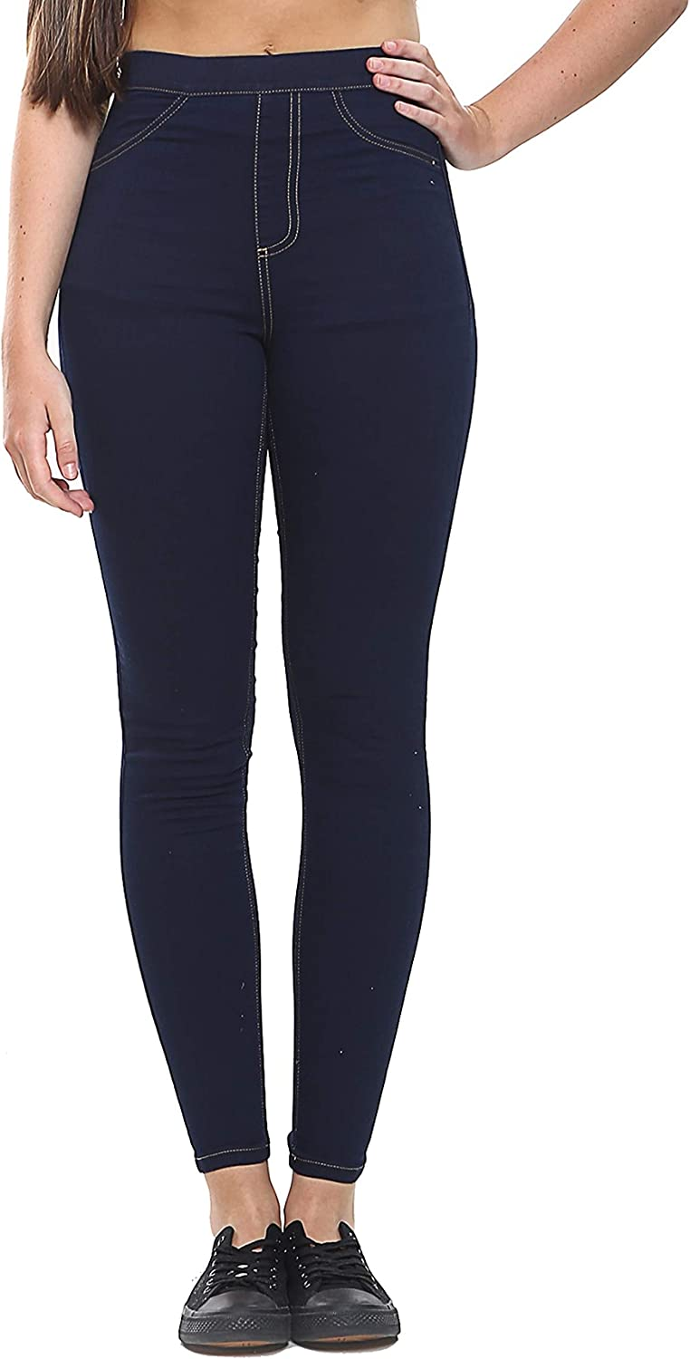 UC Ex M/&S Womens High Waisted Denim Jeggings Ladies Skinny Fit Ankle Jeans