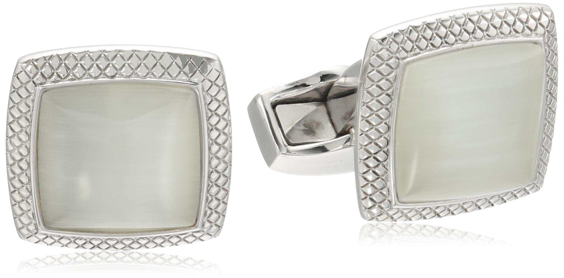 Tateossian Quadrato Fibre Optic Glass Rhodium White Cuff Link by Tateossian
