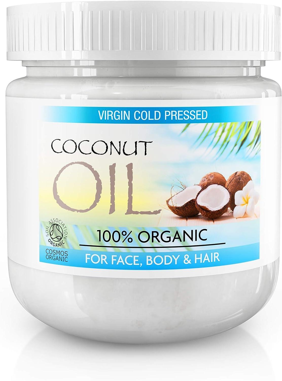 Aceite de coco virgen para el cabello hecho de coco puro sin refinar al 100%, aceite de coco extra virgen para la piel, el pelo y el rostro. Aceite de coco virgen y sin refinar por completo - Tarro de