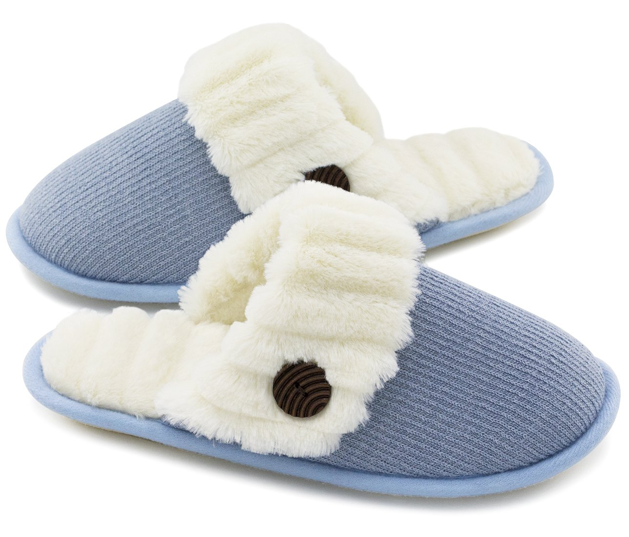 HomeTop Women's Cute Fuzzy Knitted Memory Foam Indoor House Slippers for Families Couples (39-40 (US Women's 9-10; Men's 7-8), Blue)