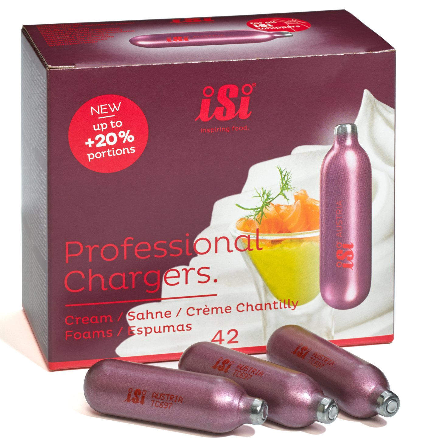 iSi Professional Chargers- 10 Boxes of 42- 8.4 Gram Nitrous Cream Propellent (420)
