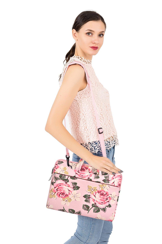 Black MOSISO Canvas Fabric Rose Pattern Laptop Shoulder Messenger Handbag Case Cover Sleeve Compatible 13-13.3 Inch MacBook Pro Notebook Computer Surface Book MacBook Air