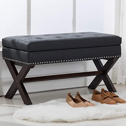 Amazon Com Chairus Pu Leather Storage Entryway Bench Faux