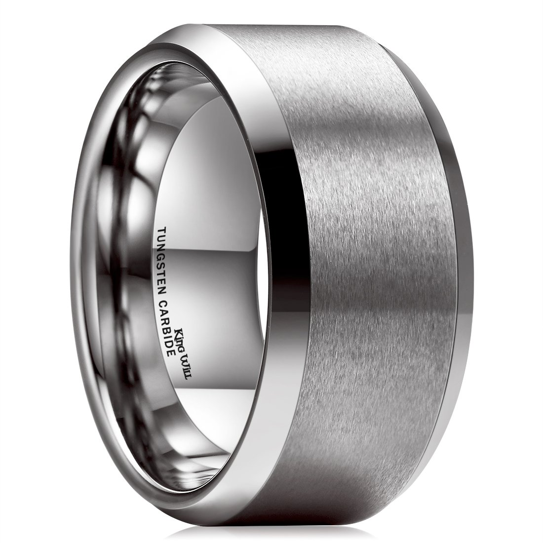 King Will BASIC 10mm Tungsten Carbide Ring for Men Matte Polished Wedding Engagement Band Comfort Fit (13.5)