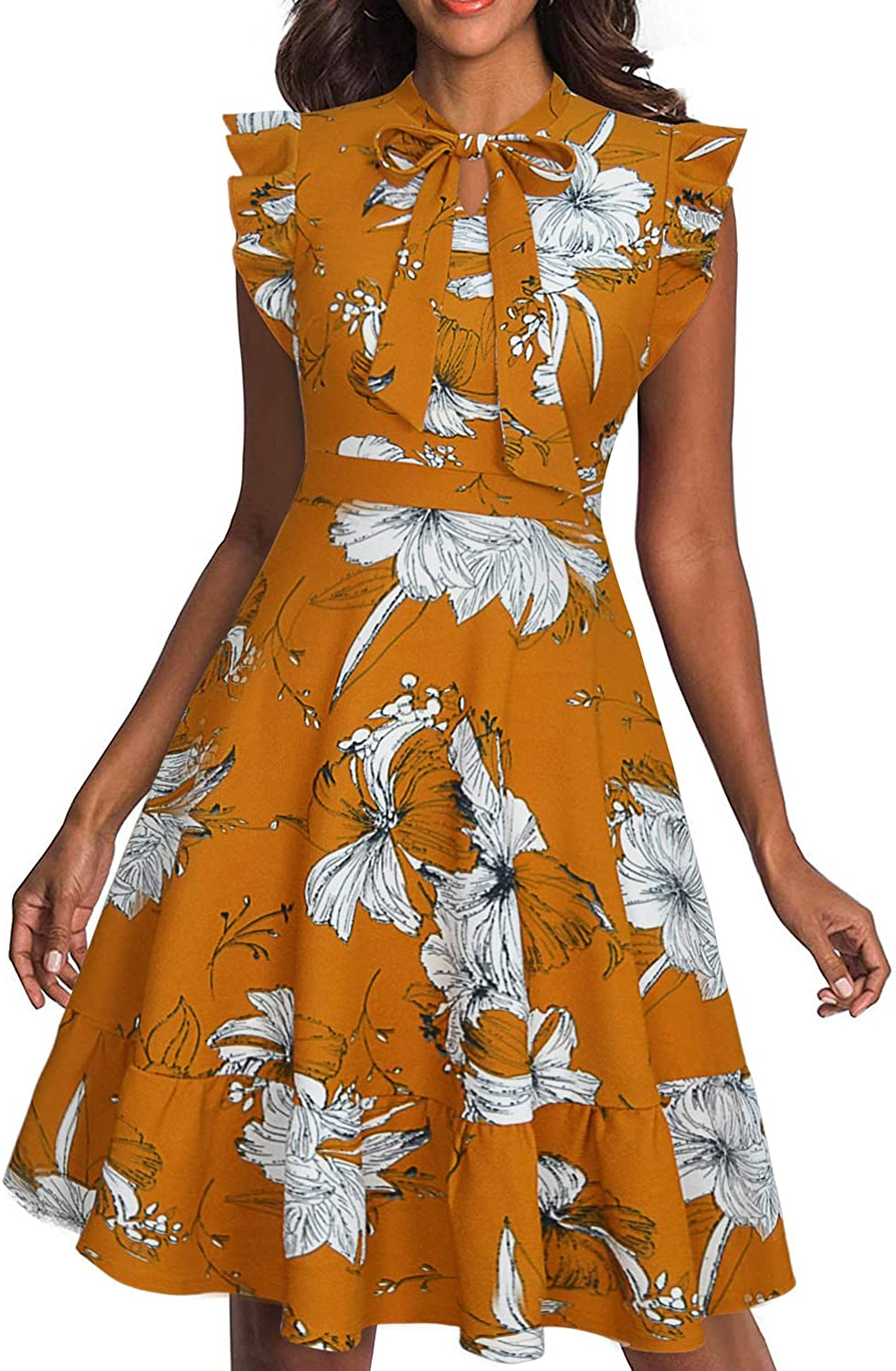 Ranphee Womens Summer Bow Tie Neck Floral A Line Fit and Flare Work Dresses