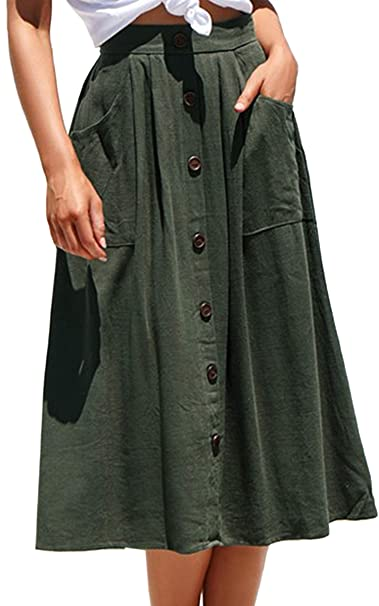 4c08ff1bb6 Angashion Women s Skirts - Vintage Button Front Solid A Line Midi Skirt  with Pockets Army Green